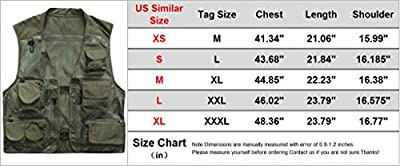ZSHOW Men's Mesh Fishing Vest Multi Pockets Photography Outdoor Jacket