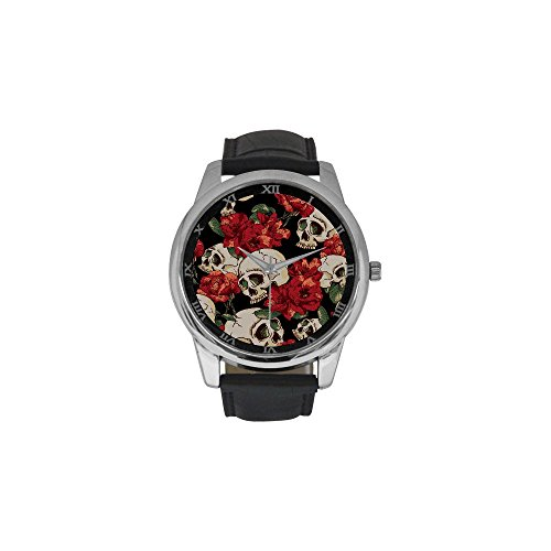 [Sugar Skull Men's Stainless Steel Leather Strap Waterproof Band Wrist Watch for Dia De Los Muertos Collectors -] (Catrina Sugar Skull Costume)