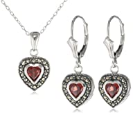 Sterling Silver Heart Pendant, on 18″ necklace and Lever back Drop Earrings Set