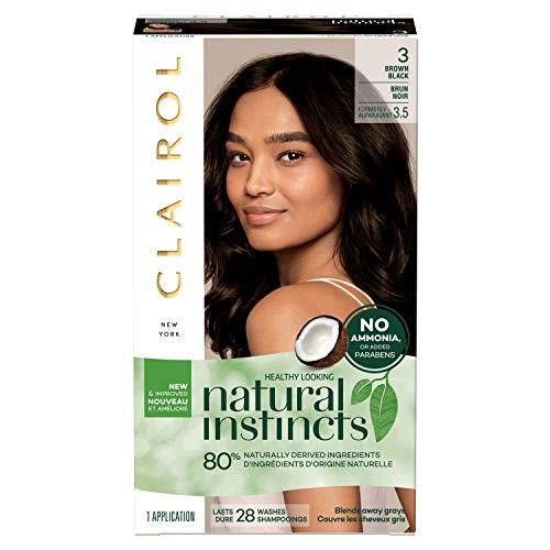 Clairol Natural Instincts Semi-Permanent, 3 Brown Black, Ebony Mocha, 1 Count (Clairol Hair Color Black Brown)