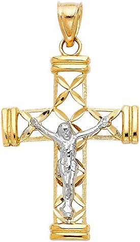 14K Two Tone Gold Jesus Crucifix Cross Religious Charm Pendant For Necklace or Chain