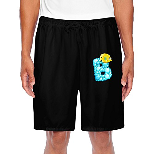 ZOENA Men's Awesome Ocean Alphabet B Cartoon Short Walkout Pants Black Size XXL
