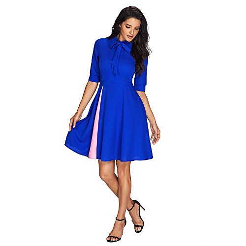 Gonne dress High in TYAW solido cotone media di waist Blue lunghezza colore adqgp