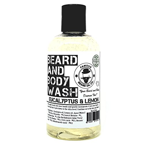 Best Beard Wash for Men - Soothing Natural Beard Wash - 100% Organic - Eucalyptus & Lemon- By The Famous Beard Oil Company (8oz)