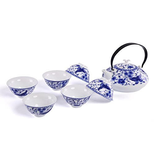 FORLONG FL5995 Vintage Chinese Style Porcelain Handmade Kung Fu Tea Set with tea pot,tea cups 7-pack