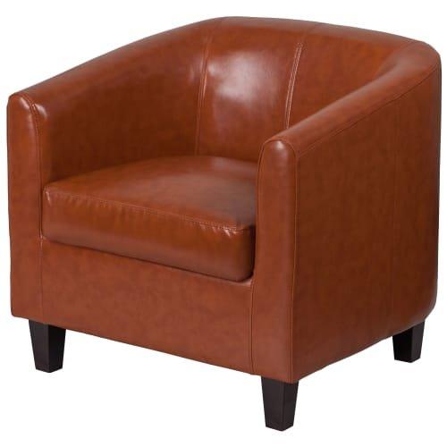 Delacora FF BT 873 29.75 Inch Wide Leather Accent Chair, Cognac