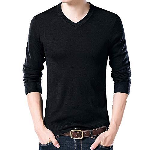 Slim En Chandail Langmotai V Men's Chaud Hommes Tricot Épais Shirt L'automne Col L'hiver Uni Et Pull Laine À Black Couleur De z5zTxrq