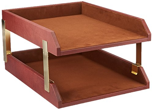 Dacasso Mocha Leather Double Letter Tray (A3020)