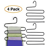 Pro Image Lines Metal Pants Hanger Closet Storage Organizer | Black 5 Levels Non Slip Jeans Rack (4 Pack)