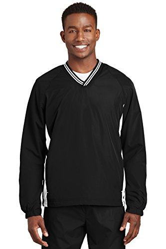 Sport-Tek 174 Tipped V-Neck Raglan Wind Shirt. JST62 Small Black/White - Tipped Jersey Sport Shirt