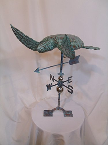 LARGE Handcrafted 3 Dimensional Sea Turtle Weathervane Copper Patina Finish