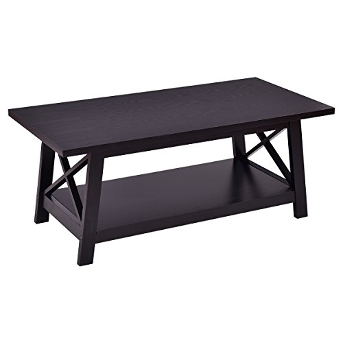 Giantex X-Design Wooden Cocktail Side Coffee Table Shelf Rectangle w/Storage Shelf Black