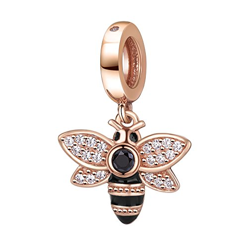 Bee Charms with CZ Stone 925 Sterling Silver Dangle Insect Animal Charm for Bracelet (Rose Gold)