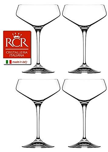RCR Cristalleria Italiana Aria Collection 4 Piece Crystal Glass Set (Champagne Coupe (11.25 oz))