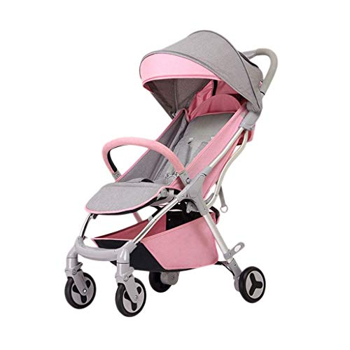 (LLYU Pushchair Ultra-Light Foldable Pushchairs Prams Can Sit Reclining Baby Trolley Strollers Shock Absorbers Newborn Baby Strollers Buggies (Size : 24.812.5939.76inches) (Color : Pink))