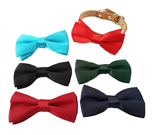 JpGdn 6pcs 3.8x2 Small Dogs Collar Bows Ties for Doggy Cats Wedding Birthday Party Collars Bowties Attachment Sliding Accessories ()