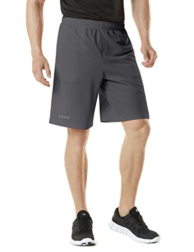 TM-MBS01-DGY_Small Tesla Men's Active Shorts Sports Performance HyperDri II With Pockets MBS01