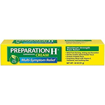Amazon Com Preparation H Maximum Strength Hemmorhoidal Cream 1 8 Oz