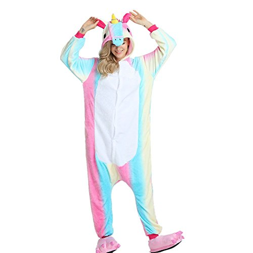 Unisex Animal Design Sweet 3D Unicorn Pajamas Nightwear Cosplay Costumes Party Festival Unicorn Sleepwear for Adults and Kids (S, RainbowUnicorn-2)