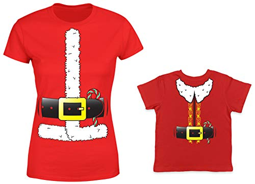 HAASE UNLIMITED Santa & Elf Costume 2-Pack Toddler & Ladies T-Shirt (Red/Red, Large/24 -