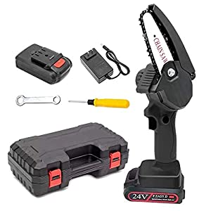 Mini Cordless Chainsaw,4 Inch 24V Electric Chain Saw with Brushless Motor,Hand-held Protable Mini Chain Saw,Rechargeable…