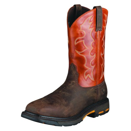 10006961 Ariat Men's Workhog Safety Boots - Dark Earth/Brick - 14.0 - EE by Ariat