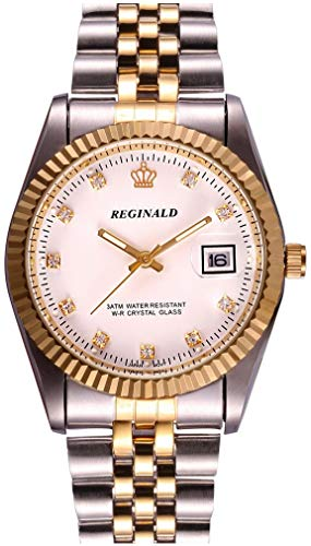 Fanmis Unisex Luxury Watches Crystal Calendar Quartz Gold Tone Stainless Steel Watch (B Gold White) ()