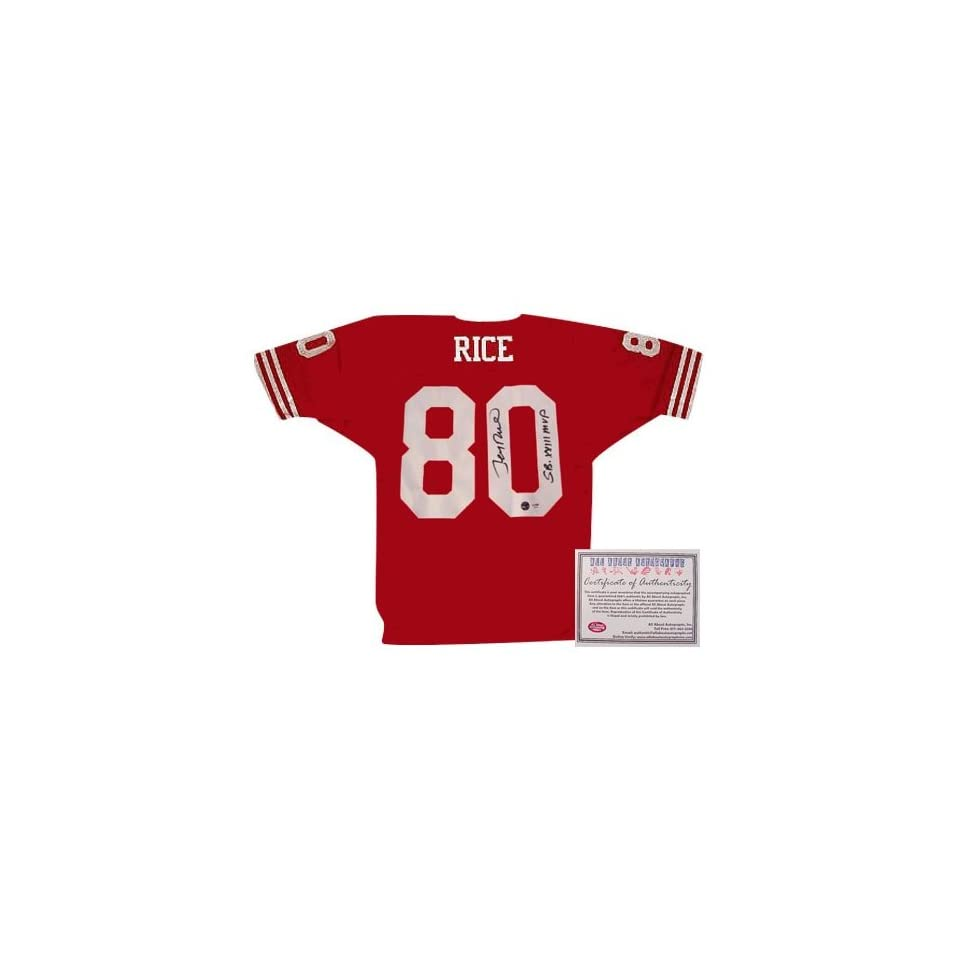 Jerry Rice San Francisco 49ers NFL Hand Signed Authentic Style Away Red Football Jersey with SB XXIII MVP Inscription