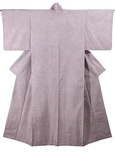 啓発する戻すマオリリサイクル 着物 紬  経緯絣 亀甲文様 正絹 袷 裄62.5cm 身丈159cm