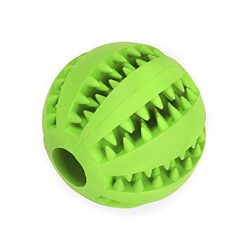 Dog Chew Toy Balls - JamHooDirect Durable Soft Rubber Non Toxic Pet Puppy Dental Teaser Chew Teeth Cleaning Toys IQ Ball For Dogs/Cats - 2.8 Inch (Green) (Keep Them Busy)
