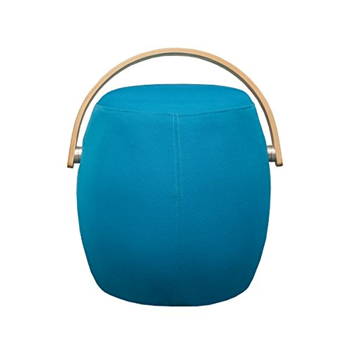 Mod Made Modern Bucket Stool Chair Ottoman with Plywood Handle, Blue