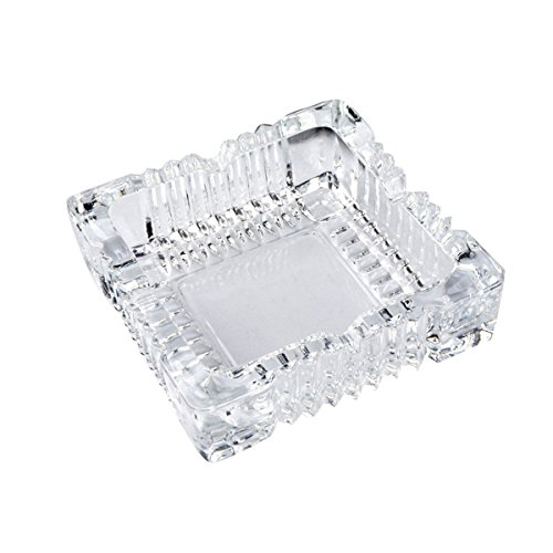 (YXQ Glass Ashtray 4.7inch Square Crystal Heavy Smoke for Cigar Cigarettes Collectible Holder Tribal Tabletop Tray Outdoor Outside Home Decoration)