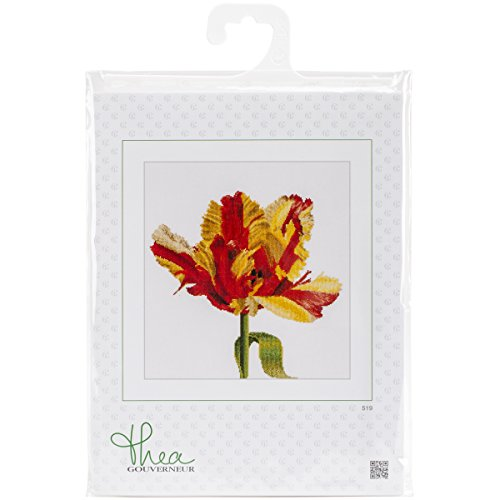 Thea Gouverneur 18 Count Red/Yellow Parrot Tulip on Aida Counted Cross Stitch Kit, 13.5 x ()
