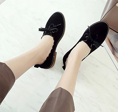 Low Heel Block Toe Round On Dressy Slip Cute Shoes Black Womens Cut Low Bow Pumps Aisun Comfort With SqABxn0