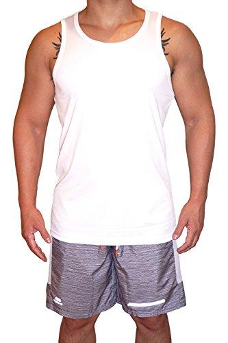 (Tanks.FIT Men's Dry Fit Athletic Tank Top - Built Strong + Light + Fit (White Interlock, L))