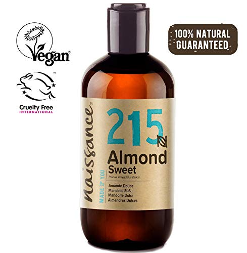Naissance Sweet Almond 8 fl oz/ 250ml - Vegan, No GMO - Ideal for Haircare and Skincare, Aromatherapy and as a Massage Base Oil