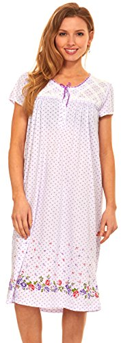 Floopi Womens Nightgown Sleepwear Cotton Pajamas - Womans Short Sleeve Sleep Dress Nightshirt (XL, Purple-00114)