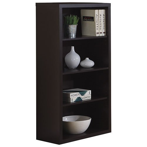 Cappuccino Three Adjustable Shelves 48-inch Bookcase Contemporary Look ()