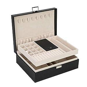 FSC Lighting Jewelry Box Organizer, Travel Jewelry Storage Case Necklace Holders Display Tray Storage Case(Black)