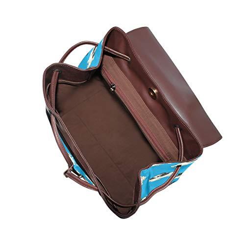 Mops hundmönster blå ryggsäck handväska mode PU-läder ryggsäck ledig ryggsäck för kvinnor