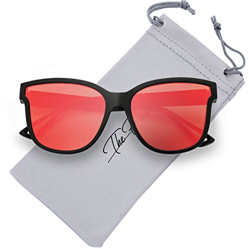 The Fresh Women's Horn Rim Metal Accent Mirrored Square Flat Lens Cat Eye Sunglasses (Black, - Rim Sunglasses Metal