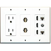 RiteAV 15 Amp Power Outlet 2 USB - 3 HDMI 2 Ethernet 1 Coax Cable TV Wall Plate