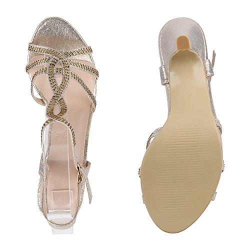 Stiefelparadies Damen Riemchensandaletten High Heels Sandaletten Stiletto Party Schuhe Glitzer Elegante Abendschuhe Abiball Flandell Gold