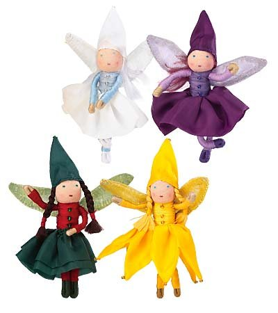 Posable Holiday Mini Fairies with Glittery Wings, Set of 4 ()