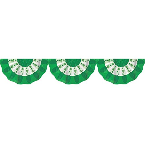 Amscan Lucky Irish Green Saint Patrick's Day Plastic Scalloped Bunting Garland Party Decoration (Pack of 1), Multicolor, 11