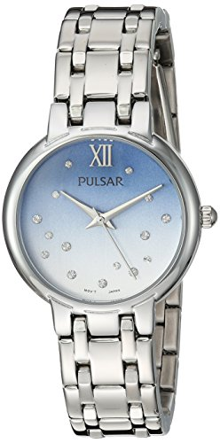 Pulsar Women's Analog-Quartz Watch with Stainless-Steel Strap, Silver, 14 (Model: PH8301