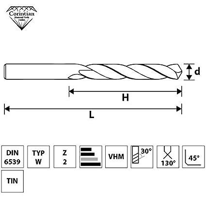 Corintian VHM Bohrer Lang Spiralbohrer Metallbohrer TiN beschichtet Metall Profibohrer Vollhartmetallbohrer /Ø 5mm