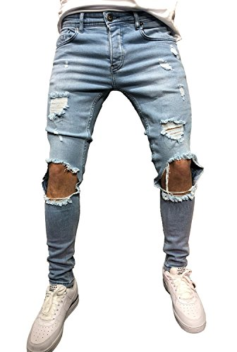 d5c258b6 Sarriben Men's Knee Broken Hole Skinny Slim Fit Blue Jeans with Ripped  Design