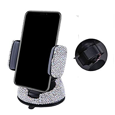 Bestbling Luxury Rhinestone Bling Universal Car Stand Phone Holder Air Vent Car Mount Stand Holder Compatible with iPhone X 8 Plus 7 Plus SE 6s 6 Plus 6 5s 5 4s 4 (Silver)