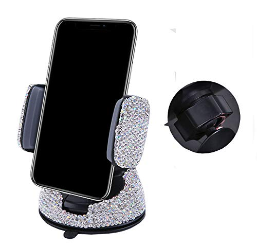 - Bestbling Luxury Rhinestone Bling Universal Car Stand Phone Holder Air Vent Car Mount Stand Holder Compatible with iPhone X 8 Plus 7 Plus SE 6s 6 Plus 6 5s 5 4s 4 (Silver)